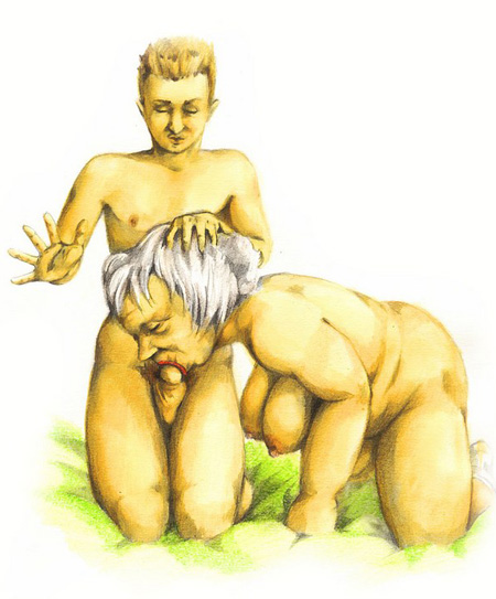 Fat granny got wild fucking with her grandson in incest sex art