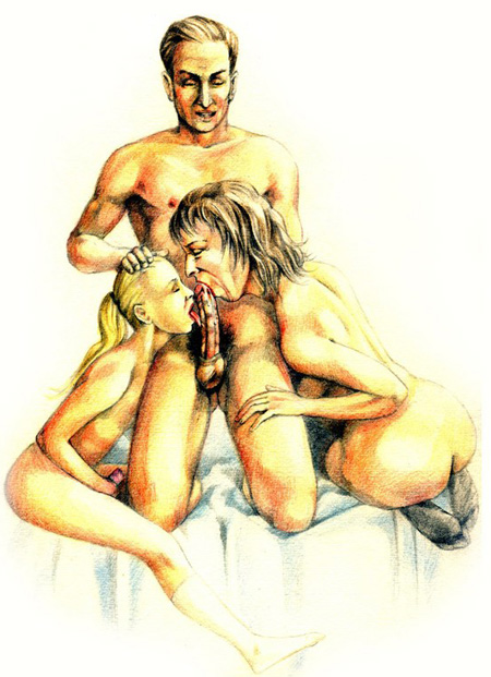 Incest art with mature man having sex with his wife and daughter