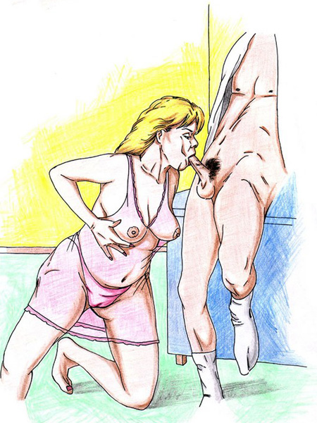 Incest porn art pics on which mature lady gets holes fucked by son