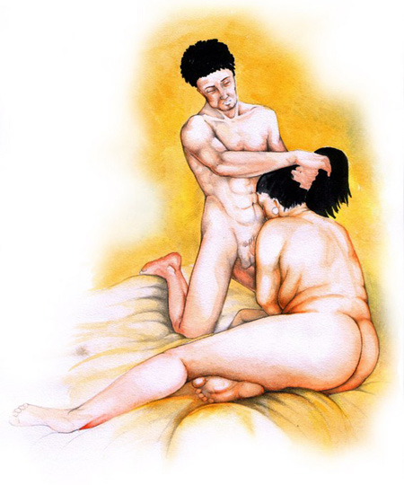 Mature fatty lady and her muscular son got sex in incest mom art